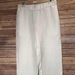 Eileen Fisher Petite linen wide leg ankle pant-M
